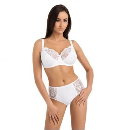 Biustonosz bawełniany koronkowy Anastasia biały