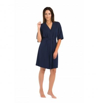 Women's bathrobe Maddalena blue front Teyli