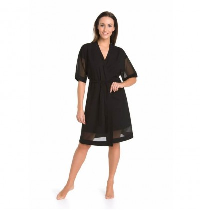 Women's bathrobe Betti black front Teyli