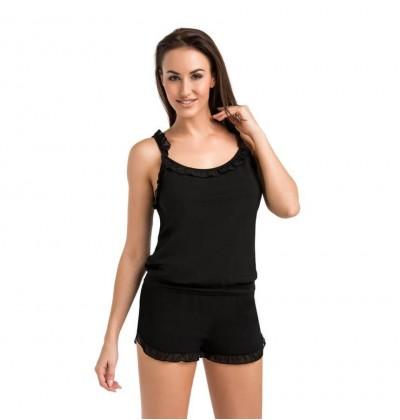 Set of Pajamas Shorts and Top black front Teyli