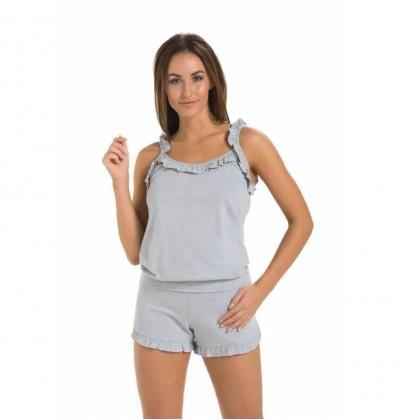 Set of Pajamas Shorts and Top grey front Teyli