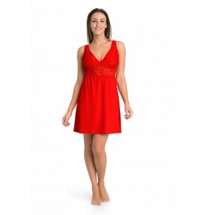 Koszula nocna Gloria Plus na duży biust czerwona przód Teyli