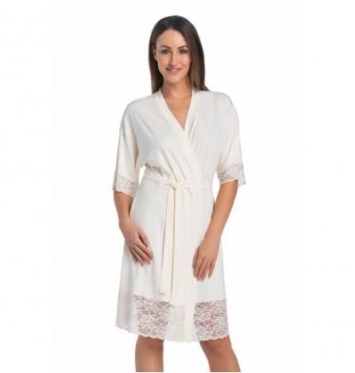 Teyli Gloria 2901 viscose women's bathrobe ecru front Teyli