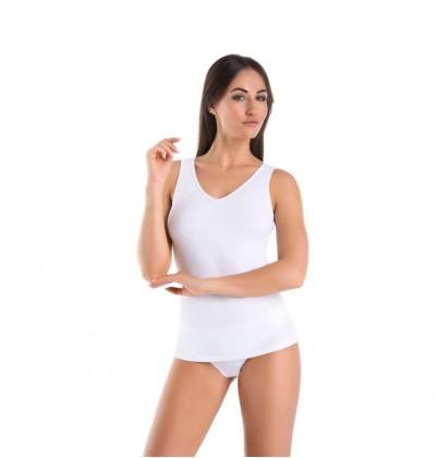 Koszulka bawełniana Top Claudia V biała przód Teyli