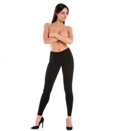 Legginsy damskie bawełniane Classico czarne przód Teyli