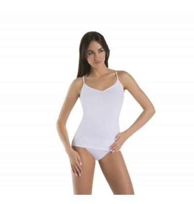 Koszulka na ramiączkach bawełniana Top Melisa V biała przód Teyli