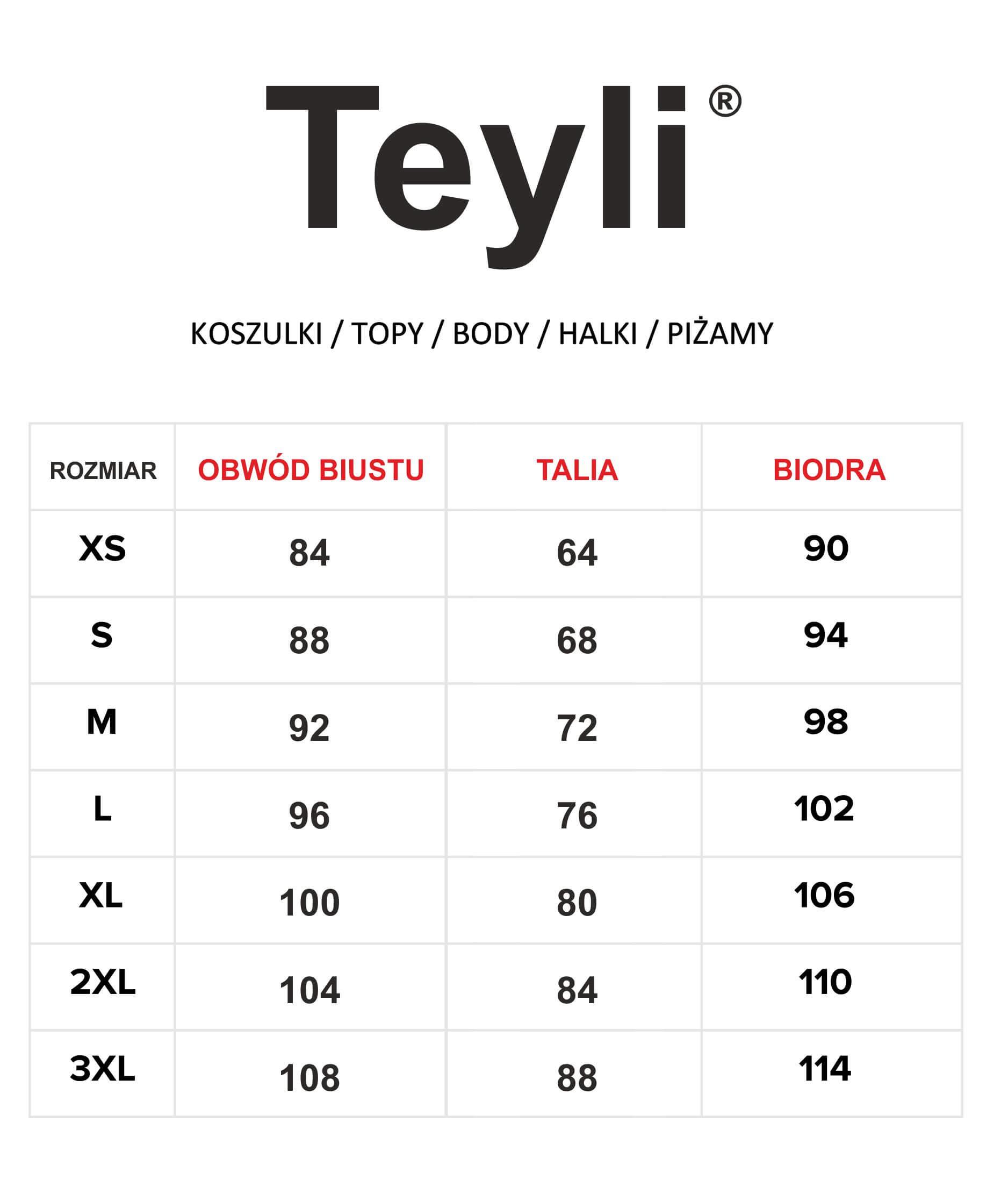 tabela rozmiarów koszulki topy body halki piżamy
